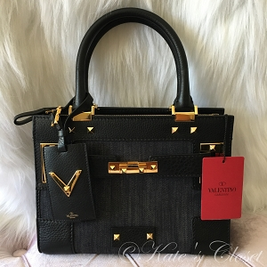 NEW VALENTINO Black Leather and Denim Crossbody