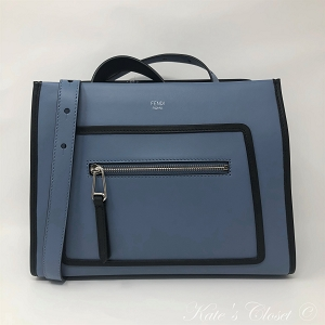 NEW FENDI Runway Blue and Black Leather Shoulder Bag