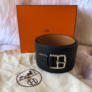 HERMES Black Belt With Silver Buckle